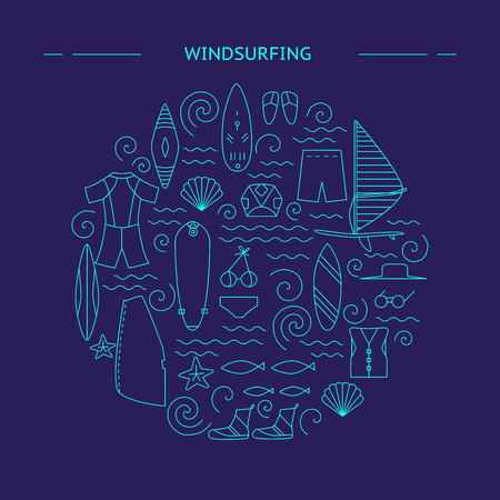 Windsurfing round design. Active sport design concept. Vector illustration. Stock Illustratie