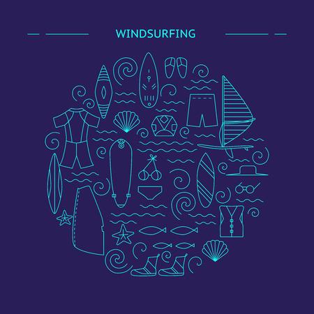 Windsurfing round design. Active sport design concept. Vector illustration. 矢量图像