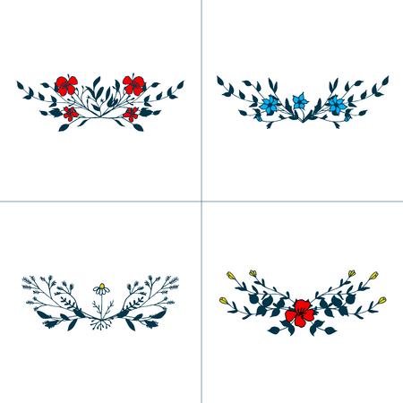 Hand drawn romantic floral bouquets vector illustration set