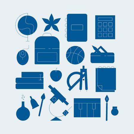 Education line icons vector illustration set