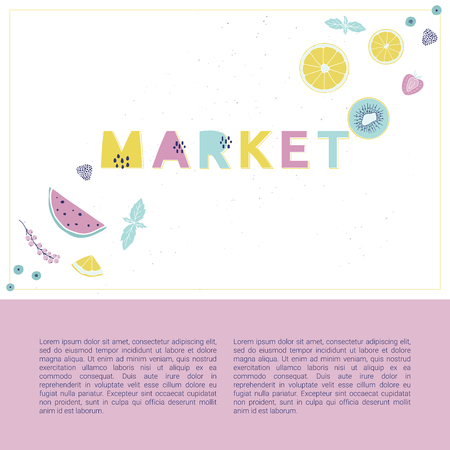 Fresh market design concept. Hand drawn vector illustration with fruits, berries and alphabet. Summertime.
