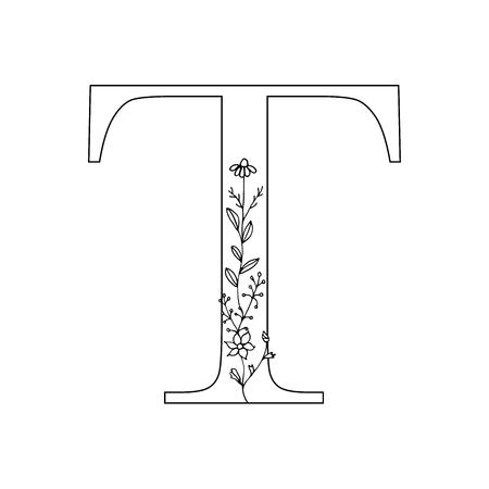 Floral letter T vector illustration