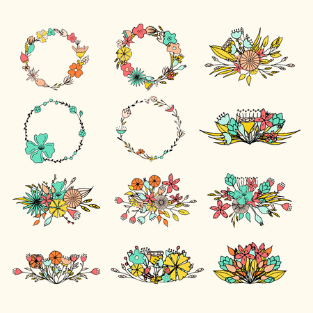 Hand drawn floral bouquets. Romantic design frames with flowers. Vector illustration.
