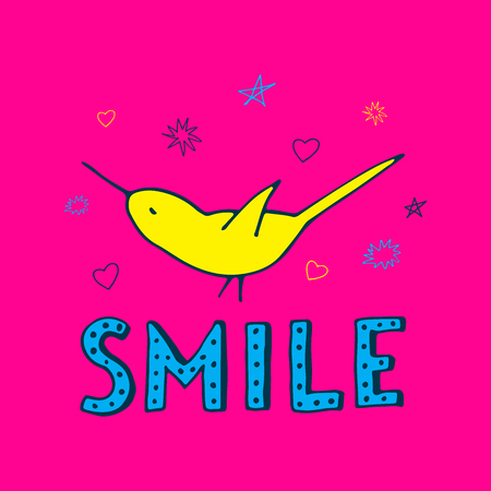 Smile text with bird vector illustration