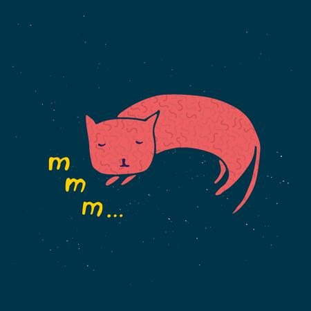 Sleeping cat vector illustration 矢量图像
