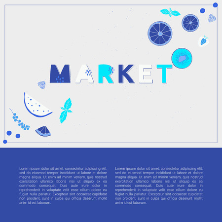 Market design concept in shades of blue. Vector banner with text.