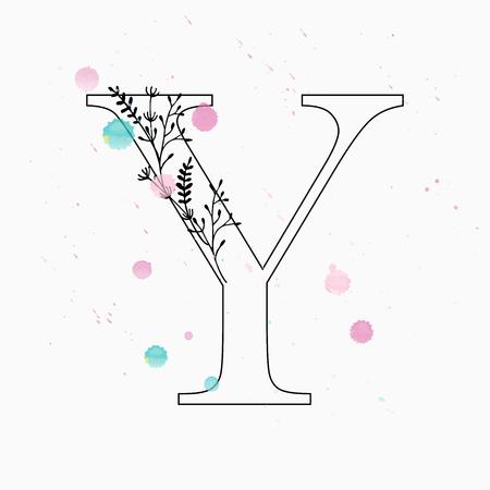 Floral letter Y vector illustration
