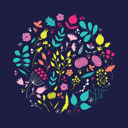 Hand drawn floral elements in circular shape vector illustration