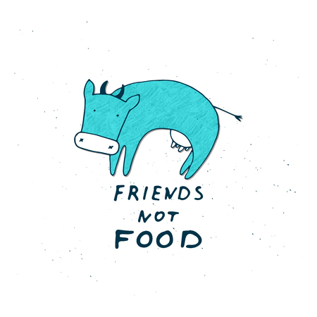 Cow with friends not food text vector illustration 矢量图像