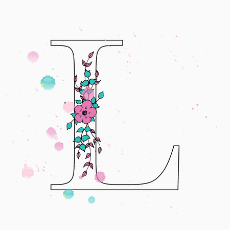 L letter. Hand drawn floral alphabet with watercolor drops. Vector wedding symbol. 矢量图像