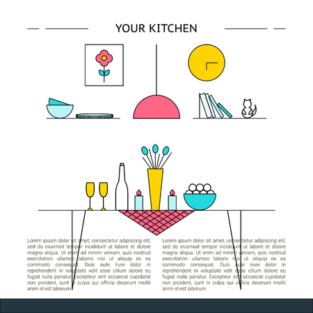 Kitchen Interior design concept vector illustration 矢量图像