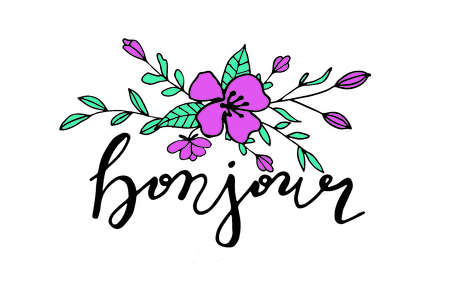 Bonjour hand drawn card with lettering and floral bouquet. Vector illustration. 矢量图像