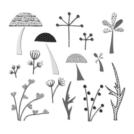 Forest clip art elements. Cutout graphic illustration. 免版税图像 - 98661503