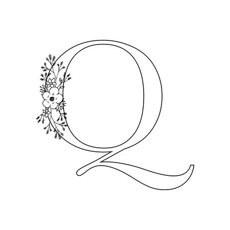 Floral letter Q vector illustration