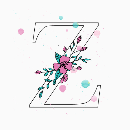 Z letter. Hand drawn floral alphabet with watercolor drops. Vector wedding symbol.