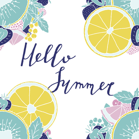 Summertime card with lettering and fruits. Vector design concept.
