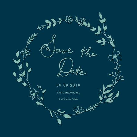Floral wedding invitation design vector illustration
