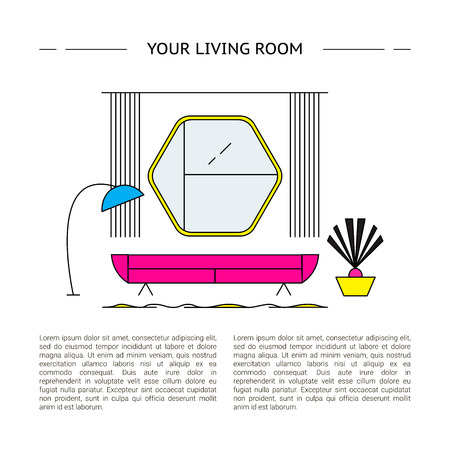 Interior design concept. Vector line living room illustration.