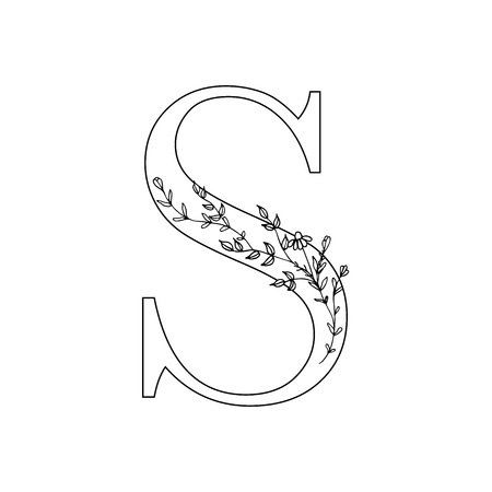 Floral letter S. Romantic lettering design with flowers. Isolated vector mono line symbol. 矢量图像