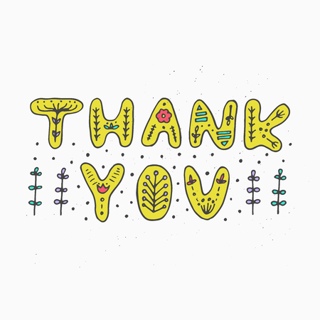 Thank you sweet lettering vector illustration