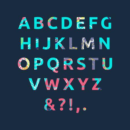 Summer alphabet vector illustration. 矢量图像