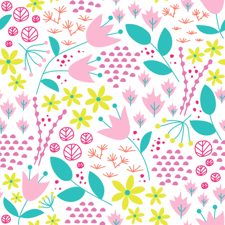 Cute woodland seamless pattern. Romantic floral print.