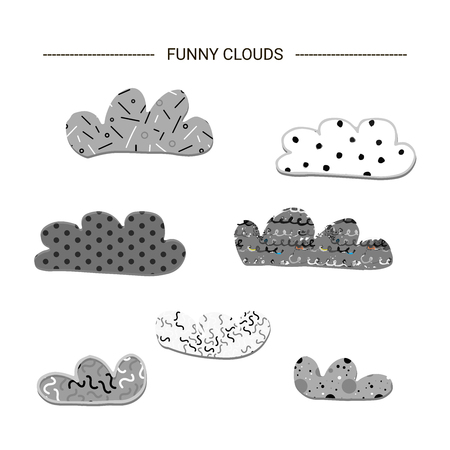 Funny textured clouds. Cutout isolated nursery clip art. 矢量图像