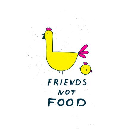 Friends not food illustration. Farm animals.