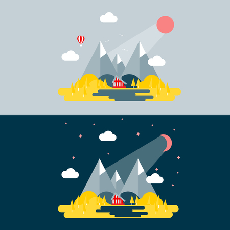 Mountain Landscape in a flat style vector illustration set