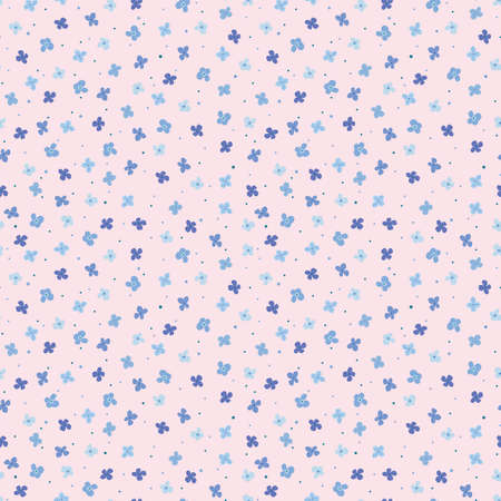 Seamless pattern with simple blue flowers