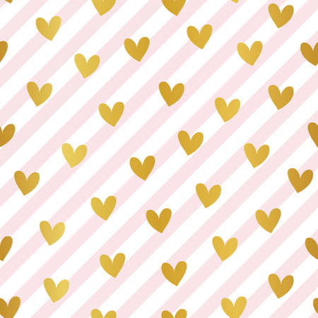 Golden hearts seamless pattern on pink diagonal stripes background