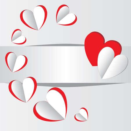 Vector Paper cut hearts illustration background Illustration