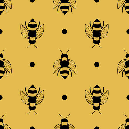 Bee seamless pattern on orange background illustration Illusztráció