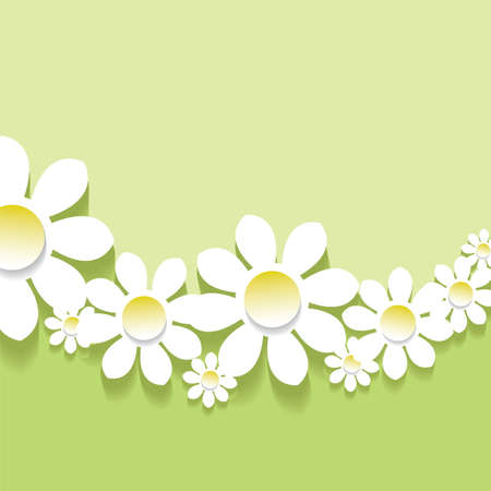 Green spring background 3D flowers