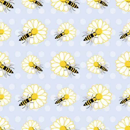 Cute seamless pattern with bees and daisy flowers on purple polka dots background design