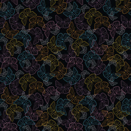 Seamless colorful butterfly outline pattern on black background illustration