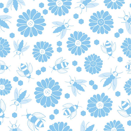 Blue flowers and bees seamless background design
