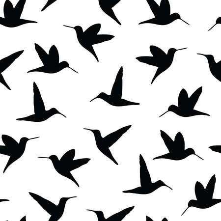 Hummingbird silhouettes seamless vector pattern illustration