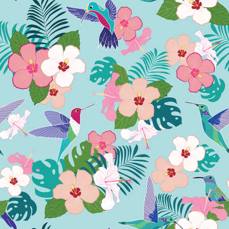 Tropical seamless pattern with hummingbirds and hibiscus flowers illustration Illustration