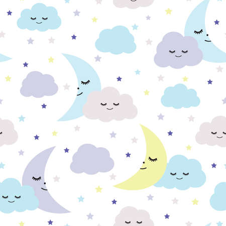 Seamless vector pattern with clouds, moons and stars, Children illustration Illustration