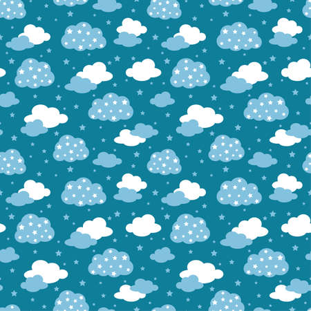 Seamless pattern clouds and stars on blue sky
