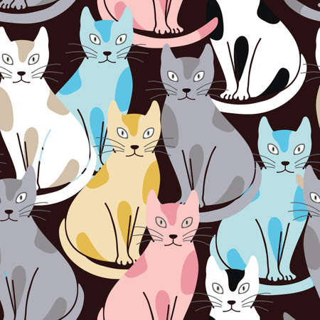 Colorful cats seamless vector pattern