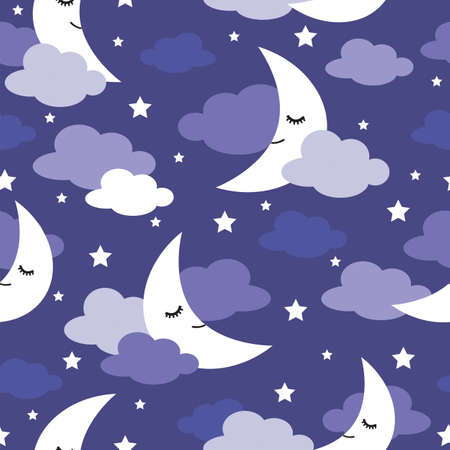 Seamless pattern with moons and clouds, night illustration for kids Illustration