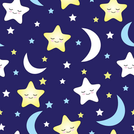 Seamless pattern moons and stars kids vector illustration