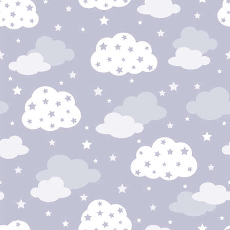 Seamless pattern with starry clouds on gray background, kids illustration