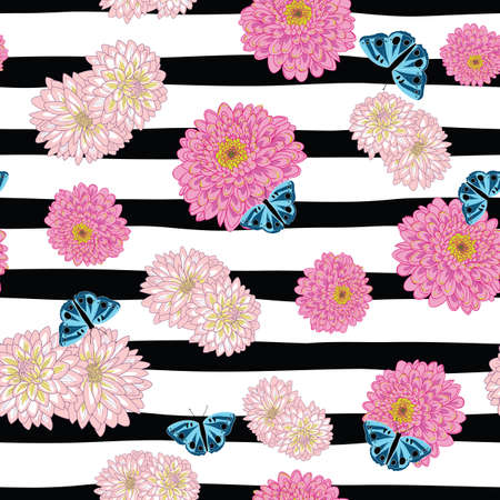Chrysanthemum flowers and butterfly seamless pattern on black stripes illustration Illustration