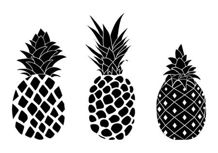 Vector pineapple fruit silhouettes isolated on white background Ilustração