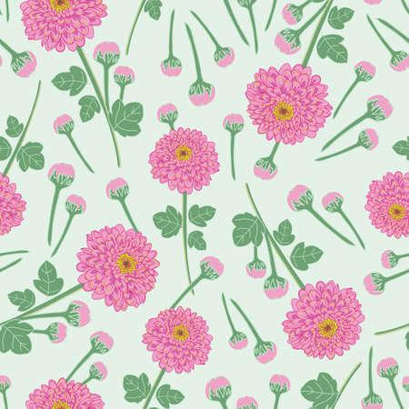 Chrysanthemum flowers seamless pattern on green background illustration