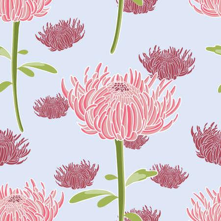 Chrysanthemum flowers seamless vector pattern background Illustration