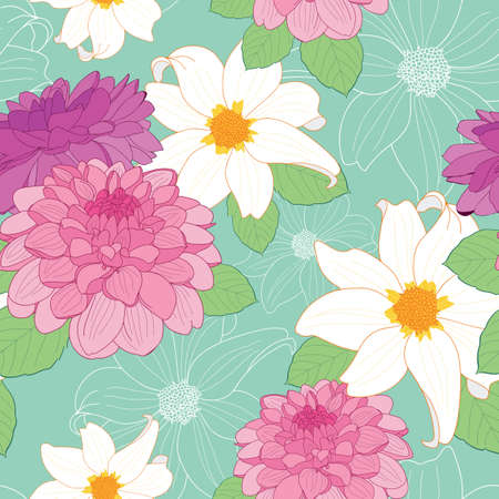 Colorful dahlia flowers seamless pattern on green background illustration
